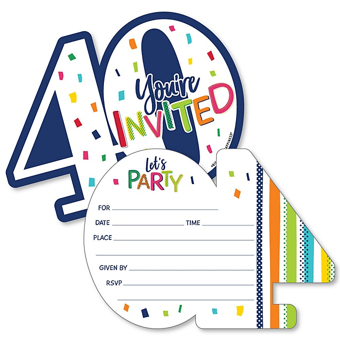 40th Birthday - Cheerful Happy Birthday - Shaped Fill-In Invitations - Colorful Fortieth Birthday Party Invitation Cards with Envelopes - Set of 12
