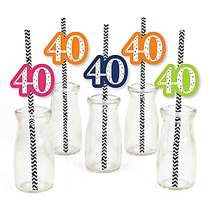 40th Birthday - Cheerful Happy Birthday - Paper Straw Decor - Colorful Fortieth Birthday Party Striped Decorative Straws - Set of 24