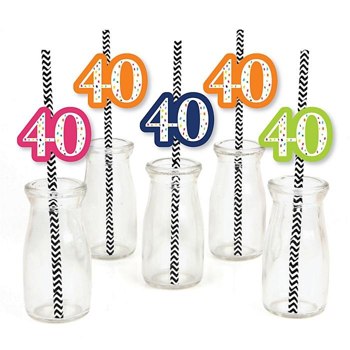 40th Birthday - Cheerful Happy Birthday - Paper Straw Decor - Colorful Fortieth Birthday Party Striped Decorative Straws - Set of 24