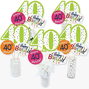 40th Birthday - Cheerful Happy Birthday - Colorful Fortieth Birthday Party Centerpiece Sticks - Table Toppers - Set of 15