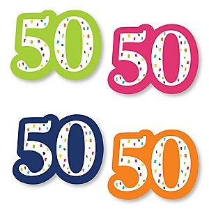 50th Birthday - Cheerful Happy Birthday - DIY Shaped Colorful Fiftieth Birthday Party Cut-Outs - 24 ct