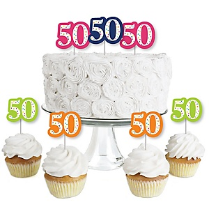 50th Birthday - Cheerful Happy Birthday - Dessert Cupcake Toppers - Colorful Fiftieth Birthday Party Clear Treat Picks - Set of 24