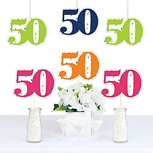 50th Birthday - Cheerful Happy Birthday - Decorations DIY Colorful Fiftieth Birthday Party Essentials - Set of 20