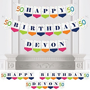 50th Birthday - Cheerful Happy Birthday - Personalized Colorful Fiftieth Birthday Party Bunting Banner & Decorations