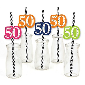 50th Birthday - Cheerful Happy Birthday - Paper Straw Decor - Colorful Fiftieth Birthday Party Striped Decorative Straws - Set of 24
