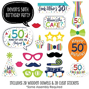 50th Birthday - Cheerful Happy Birthday - 20 Piece Colorful Fiftieth Birthday Party Photo Booth Props Kit