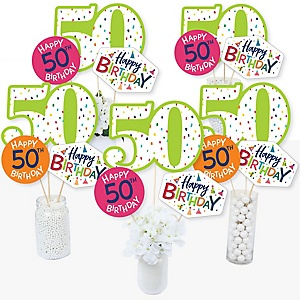 50th Birthday - Cheerful Happy Birthday - Colorful Fiftieth Birthday Party Centerpiece Sticks - Table Toppers - Set of 15