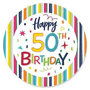 50th Birthday - Cheerful Happy Birthday - Colorful Fiftieth Birthday Party Theme