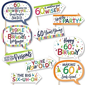 Funny 60th Birthday - Cheerful Happy Birthday - 10 Piece Colorful Sixtieth Birthday Party Photo Booth Props Kit