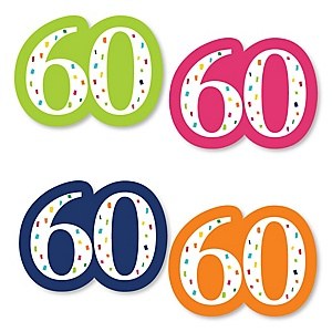 60th Birthday - Cheerful Happy Birthday - DIY Shaped Colorful Sixtieth Birthday Party Cut-Outs - 24 ct