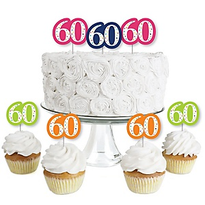 60th Birthday - Cheerful Happy Birthday - Dessert Cupcake Toppers - Colorful Sixtieth Birthday Party Clear Treat Picks - Set of 24