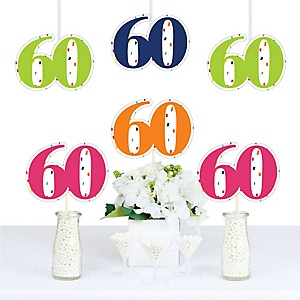 60th Birthday - Cheerful Happy Birthday - Decorations DIY Colorful Sixtieth Birthday Party Essentials - Set of 20