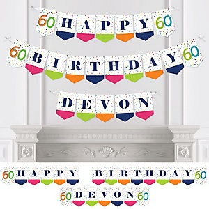 60th Birthday - Cheerful Happy Birthday - Personalized Colorful Sixtieth Birthday Party Bunting Banner & Decorations