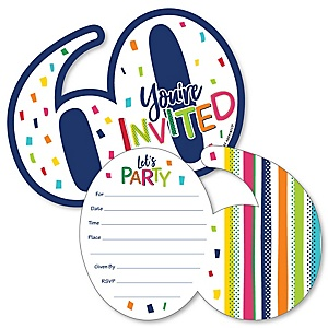 60th Birthday - Cheerful Happy Birthday - Shaped Fill-In Invitations - Colorful Sixtieth Birthday Party Invitation Cards with Envelopes - Set of 12