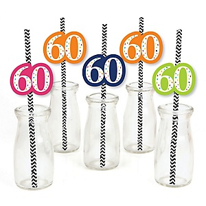 60th Birthday - Cheerful Happy Birthday - Paper Straw Decor - Colorful Sixtieth Birthday Party Striped Decorative Straws - Set of 24