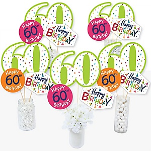60th Birthday - Cheerful Happy Birthday - Colorful Sixtieth Birthday Party Centerpiece Sticks - Table Toppers - Set of 15