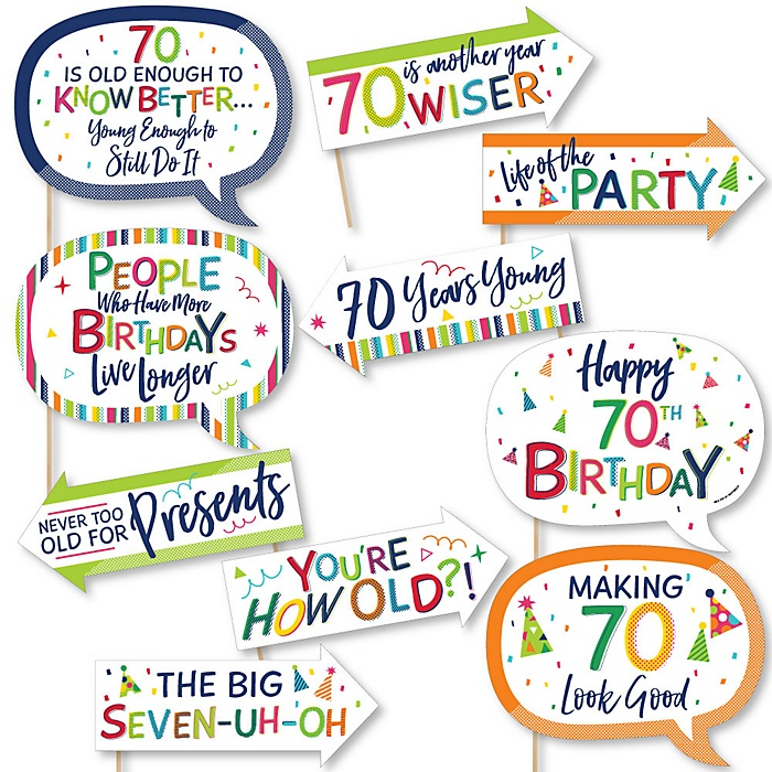 Funny 70th Birthday - Cheerful Happy Birthday - 10 Piece Colorful Seventieth Birthday Party Photo Booth Props Kit