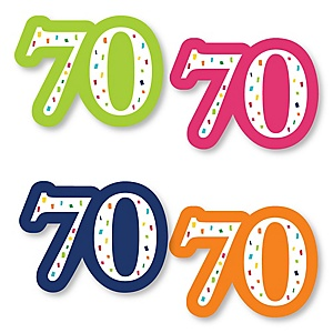 70th Birthday - Cheerful Happy Birthday - DIY Shaped Colorful Seventieth Birthday Party Cut-Outs - 24 ct