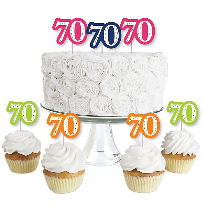 70th Birthday - Cheerful Happy Birthday - Dessert Cupcake Toppers - Colorful Seventieth Birthday Party Clear Treat Picks - Set of 24