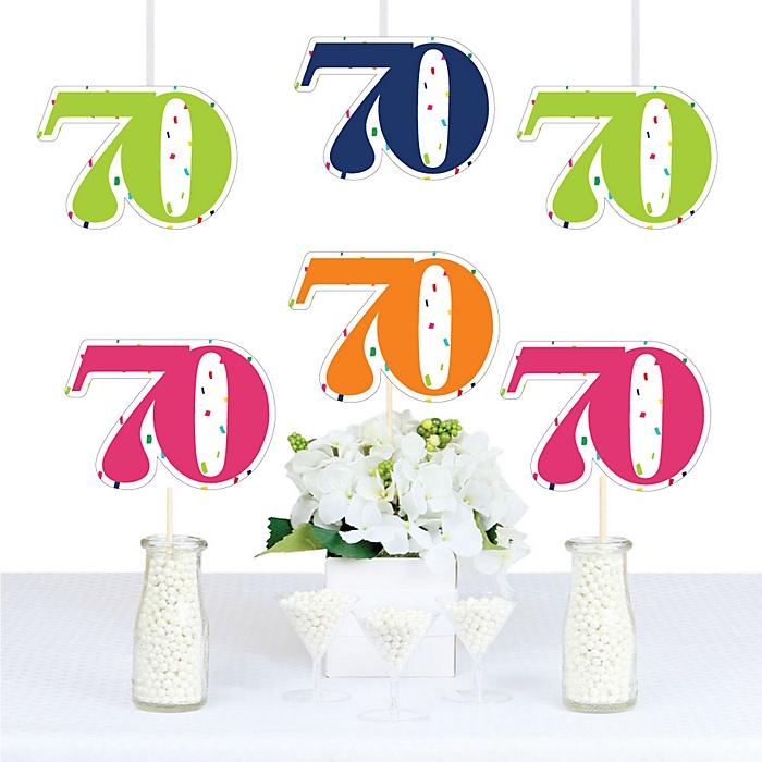 70th Birthday - Cheerful Happy Birthday - Decorations DIY Colorful Seventieth Birthday Party Essentials - Set of 20