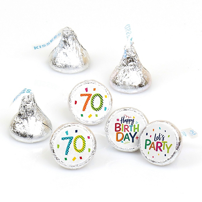 70th Birthday - Cheerful Happy Birthday - Round Candy Labels Colorful Seventieth Birthday Party Favors - Fits Hershey's Kisses - 108 ct