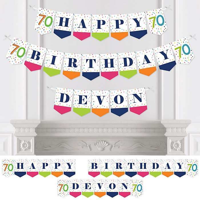 70th Birthday - Cheerful Happy Birthday - Personalized Colorful Seventieth Birthday Party Bunting Banner & Decorations