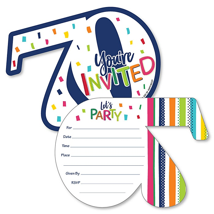 70th Birthday - Cheerful Happy Birthday - Shaped Fill-In Invitations - Colorful Seventieth Birthday Party Invitation Cards with Envelopes - Set of 12