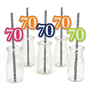 70th Birthday - Cheerful Happy Birthday - Paper Straw Decor - Colorful Seventieth Birthday Party Striped Decorative Straws - Set of 24