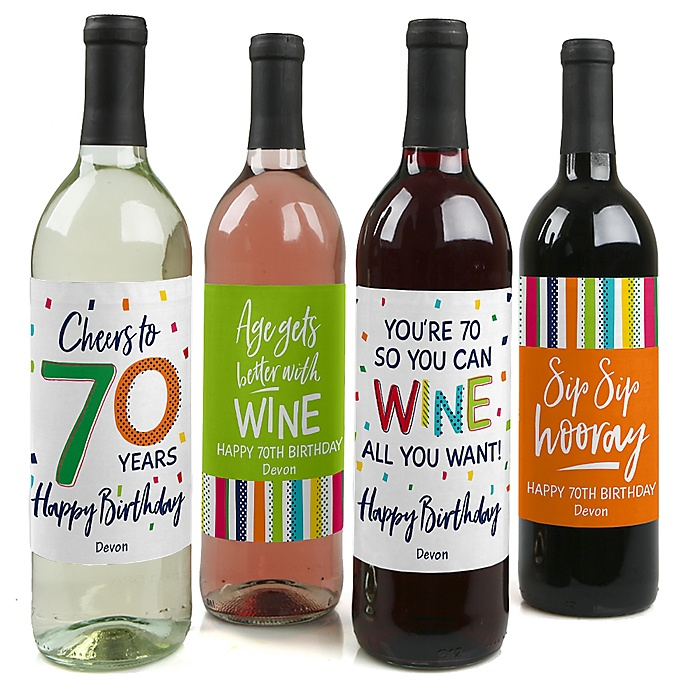70th Birthday - Cheerful Happy Birthday - Decorations for Women and Men - Wine Bottle Label Colorful Seventieth Birthday Party Gift - Set of 4