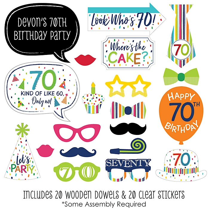 70th Birthday - Cheerful Happy Birthday - 20 Piece Colorful Seventieth Birthday Party Photo Booth Props Kit