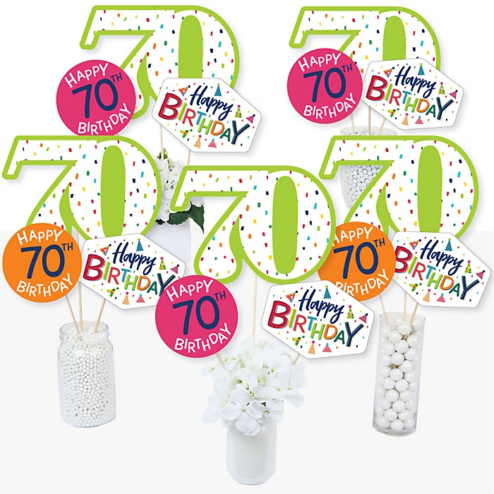 70th Birthday - Cheerful Happy Birthday - Colorful Seventieth Birthday Party Centerpiece Sticks - Table Toppers - Set of 15