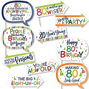 Funny 80th Birthday - Cheerful Happy Birthday - 10 Piece Colorful Eightieth Birthday Party Photo Booth Props Kit