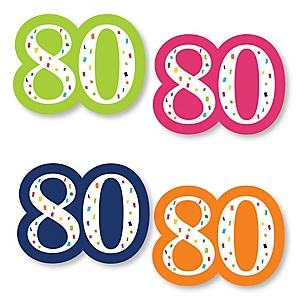 80th Birthday - Cheerful Happy Birthday - DIY Shaped Colorful Eightieth Birthday Party Cut-Outs - 24 ct