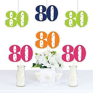 80th Birthday - Cheerful Happy Birthday - Decorations DIY Colorful Eightieth Birthday Party Essentials - Set of 20