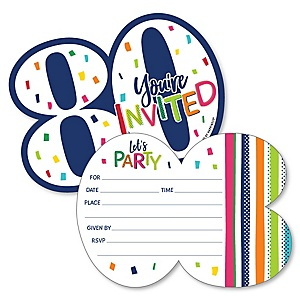 80th Birthday - Cheerful Happy Birthday - Shaped Fill-In Invitations - Colorful Eightieth Birthday Party Invitation Cards with Envelopes - Set of 12