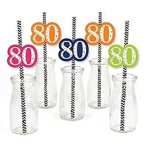 80th Birthday - Cheerful Happy Birthday - Paper Straw Decor - Colorful Eightieth Birthday Party Striped Decorative Straws - Set of 24