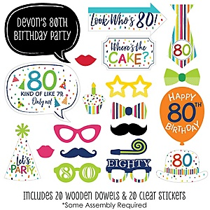 80th Birthday - Cheerful Happy Birthday - 20 Piece Colorful Eightieth Birthday Party Photo Booth Props Kit