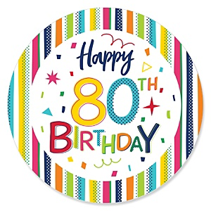 80th Birthday - Cheerful Happy Birthday - Colorful Eightieth Birthday Party Theme