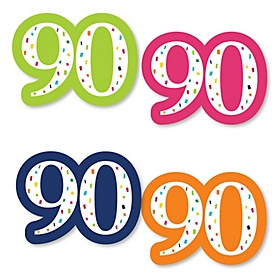 90th Birthday - Cheerful Happy Birthday - DIY Shaped Colorful Ninetieth Birthday Party Cut-Outs - 24 ct