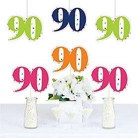 90th Birthday - Cheerful Happy Birthday - Decorations DIY Colorful Ninetieth Birthday Party Essentials - Set of 20