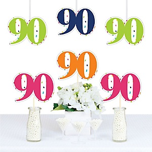 90th Birthday - Cheerful Happy Birthday - Decorations DIY Colorful Ninetieth Birthday Party Essentials - Set of 20