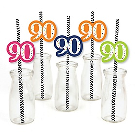 90th Birthday - Cheerful Happy Birthday - Paper Straw Decor - Colorful Ninetieth Birthday Party Striped Decorative Straws - Set of 24