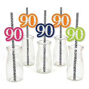 90th Birthday - Cheerful Happy Birthday - Paper Straw Decor - Colorful Ninetieth Birthday Party Striped Decorative Straws - Set of 24