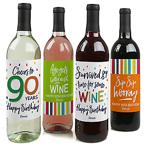90th Birthday - Cheerful Happy Birthday - Decorations for Women and Men - Wine Bottle Label Colorful Ninetieth Birthday Party Gift - Set of 4