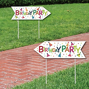 Cheerful Happy Birthday - Colorful Birthday Party Sign Arrow - Double Sided Directional Yard Signs - Set of 2