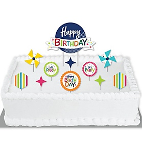 Cheerful Happy Birthday - Colorful Birthday Party Cake Decorating Kit - Happy Birthday Cake Topper Set - 11 Pieces