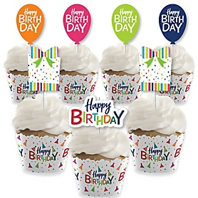Cheerful Happy Birthday - Cupcake Decoration - Colorful Birthday Party Cupcake Wrappers and Treat Picks Kit - Set of 24