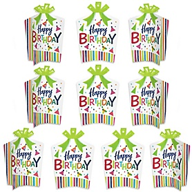 Cheerful Happy Birthday - Table Decorations - Colorful Birthday Party Fold and Flare Centerpieces - 10 Count