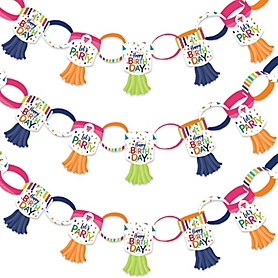 Cheerful Happy Birthday - 90 Chain Links and 30 Paper Tassels Decoration Kit - Colorful Birthday Party Paper Chains Garland - 21 feet