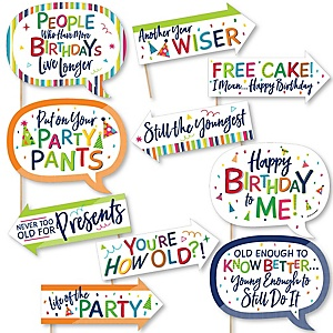 Funny Cheerful Happy Birthday - 10 Piece Colorful Birthday Party Photo Booth Props Kit
